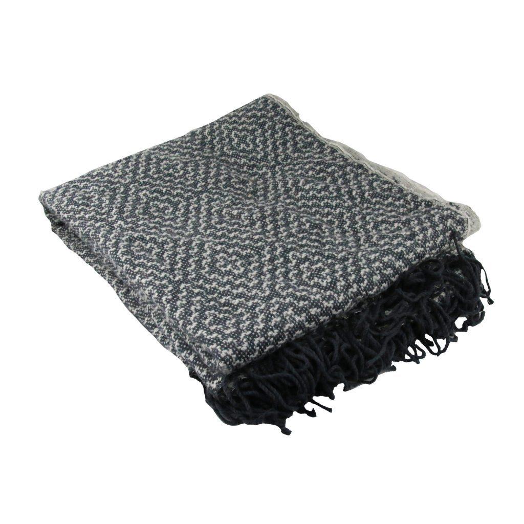 Liviza plaid grijs/wit – visgraat patroon