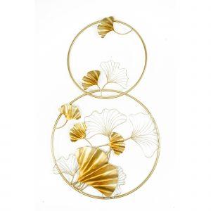 Muurdecoratie goud bloemen