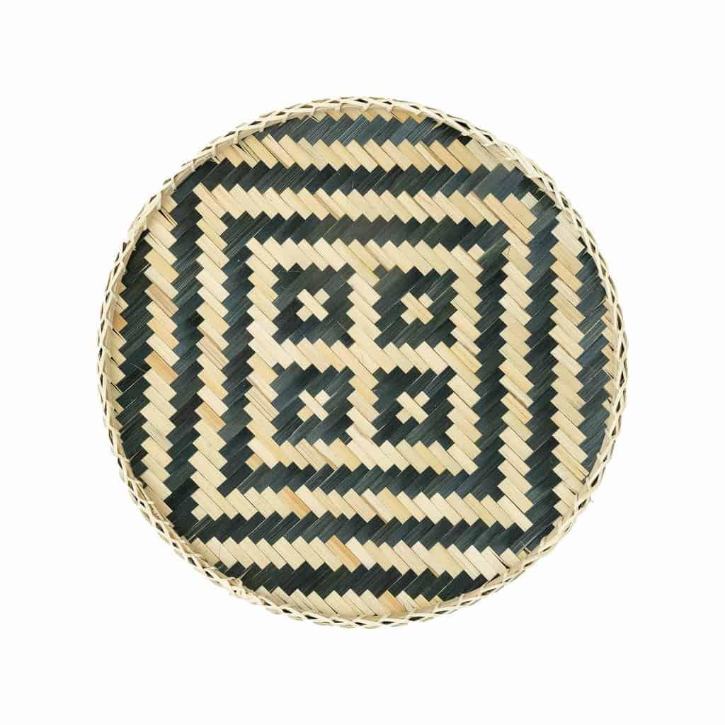 Muurdecoratie bamboe mand - Wit blauw Ø40