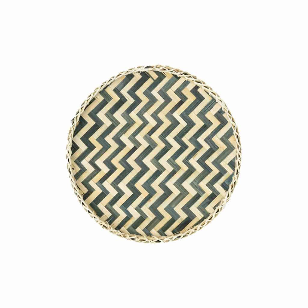 Muurdecoratie bamboe mand - Wit zwart Ø30