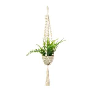 Macramé plantenhanger kralen - Naturel (2)